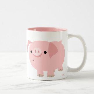 Tasse mignonne de porc de bande dessinée
