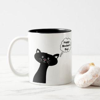 Tasse mignonne heureuse de chat du jour de mère