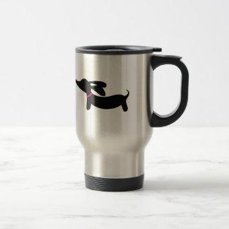 Tasse noire de voyage de café de chien de saucisse