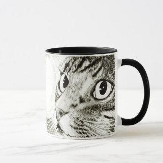 Tasse noire et blanche d'art de chat tigré de