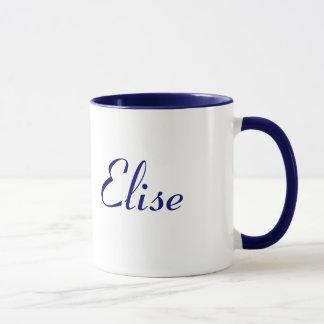 Tasse nommée d'Elise assez bleue et blanche