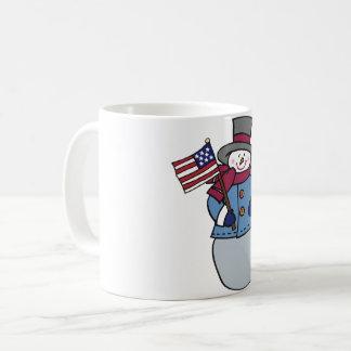 Tasse patriotique de bonhomme de neige
