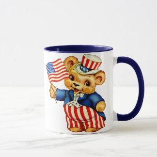 Tasse patriotique vintage d'ours