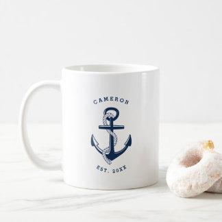 Tasse personnalisée nautique d'ancre de bleu