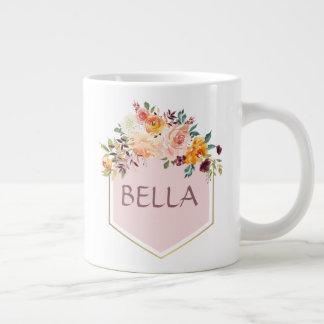 Tasse personnalisée par logo de rose de bouquet