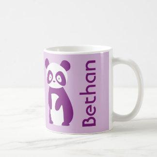Tasse personnalisée pourpre de panda (tout nom)
