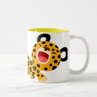 Tasse plaisante de léopard de bande dessinée