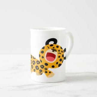 Tasse plaisante de porcelaine tendre de léopard de mug en porcelaine
