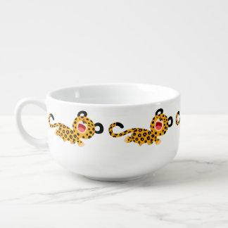 Tasse plaisante de soupe à léopard de bande dessin bol à soupe