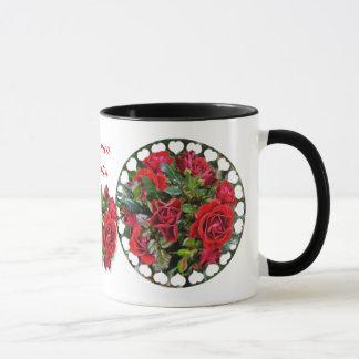 Tasse romantique de sonnerie de ~ de roses rouges