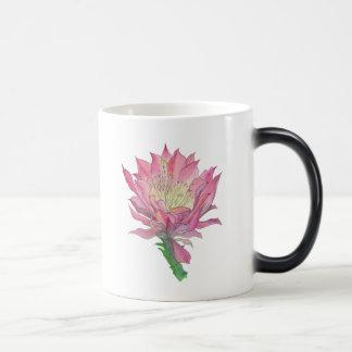 Tasse rose de fleur de cactus d'aquarelle