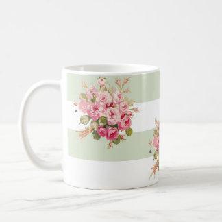 Tasse rose de rayure de basilic du bouquet de Jane