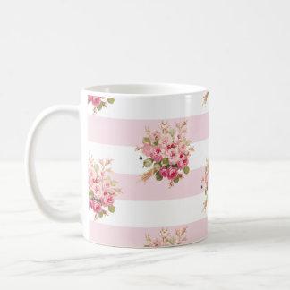 Tasse rose de rayure de pivoine du bouquet de Jane
