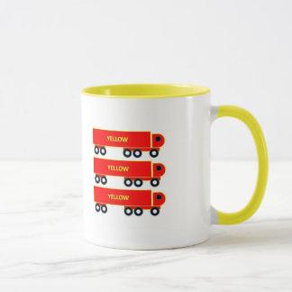 tasse rouge de tasse de camion de jaune de camion