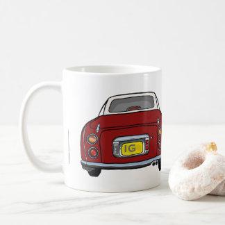 Tasse rouge de voiture de Nissan Figaro, initiales