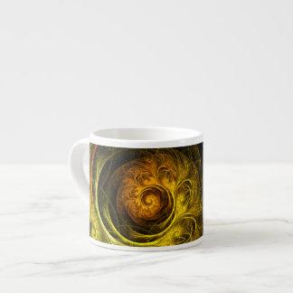 Tasse rouge florale de café express d'art abstrait
