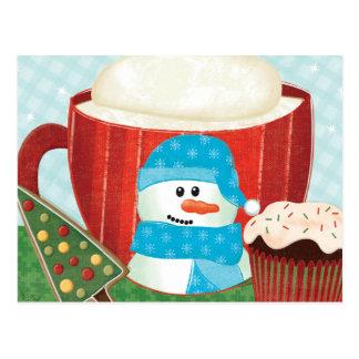 Tasse verte de vacances avec du cacao chaud carte postale