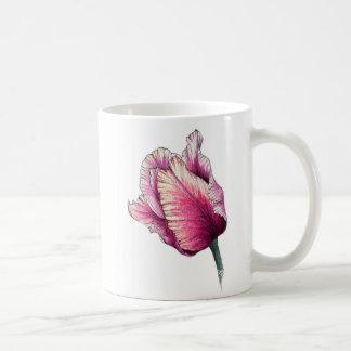 Tasse vintage de tulipe de perroquet d'aquarelle
