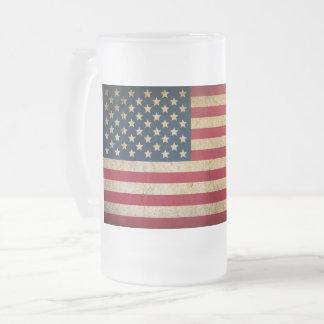 Tasse vintage en verre givré de drapeau américain