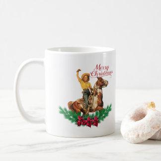 Tasse vintage occidentale de Joyeux Noël de cheval