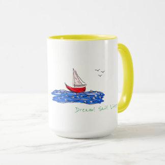 Tasse vivante de thé de café de mouettes de bateau