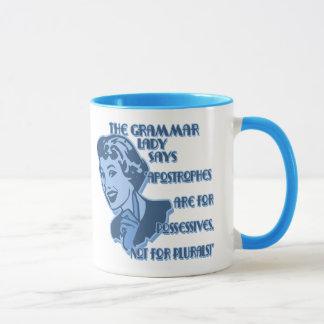 Tasses bleues d'apostrophes