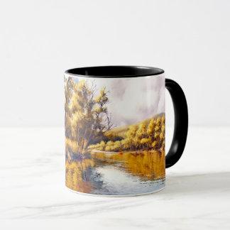 Tasses de cadeau de peinture de paysage de rivière