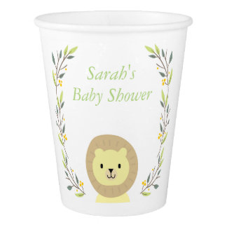 Tasses de papier de baby shower de safari gobelets en papier