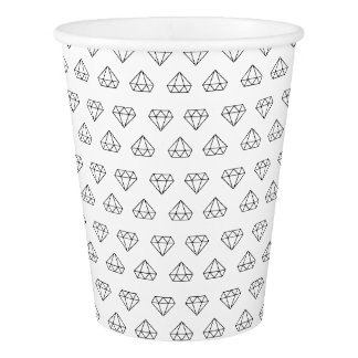 Tasses de papier de motif de diamant gobelets en papier