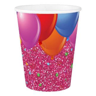 Tasses de papier de scintillement de partie rose gobelets en papier