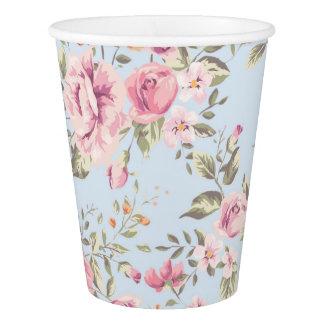 Tasses de papier florales roses et bleues chics gobelets en papier