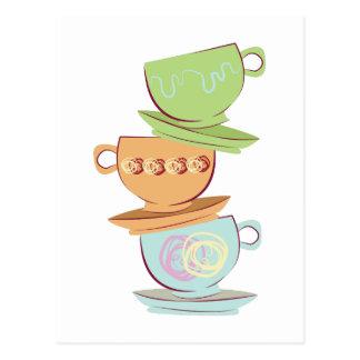Tasses de thé carte postale