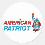 Tatouage américain de liberté de patriote autocollant rond