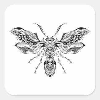 Tatouage d'Abeille-Guêpe Sticker Carré