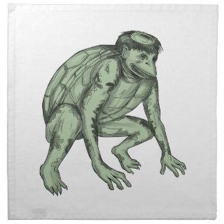 Tatouage de acroupissement de monstre de Kappa Serviettes Imprimées