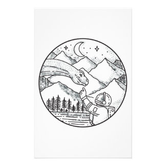 Tatouage de cercle de montagne d'astronaute de papeterie