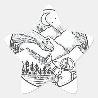 Tatouage de cercle de montagne d'astronaute de sticker étoile