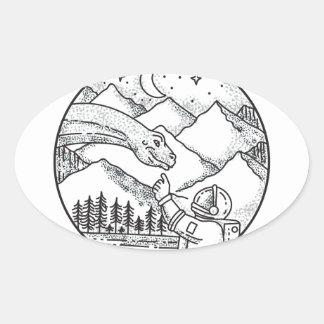 Tatouage de cercle de montagne d'astronaute de sticker ovale