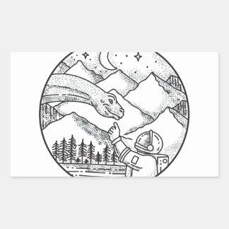 Tatouage de cercle de montagne d'astronaute de sticker rectangulaire