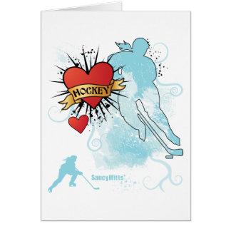 Tatouage de coeur d'hockey de dames carte de vœux