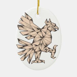 Tatouage de Cuauhtli Glifo Eagle Ornement Ovale En Céramique