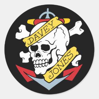 Tatouage de Davey Jones Sticker Rond