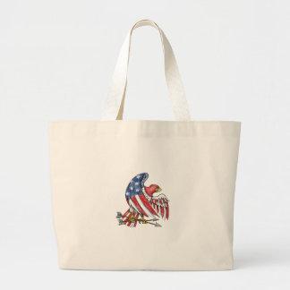 Tatouage de drapeau de bannière étoilée d'Eagle Grand Tote Bag