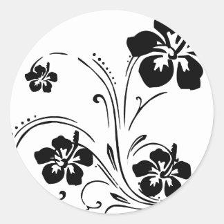 Tatouage de fleur sticker rond