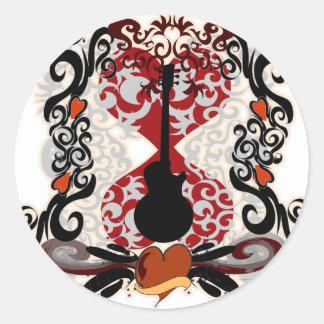 Tatouage de guitare sticker rond