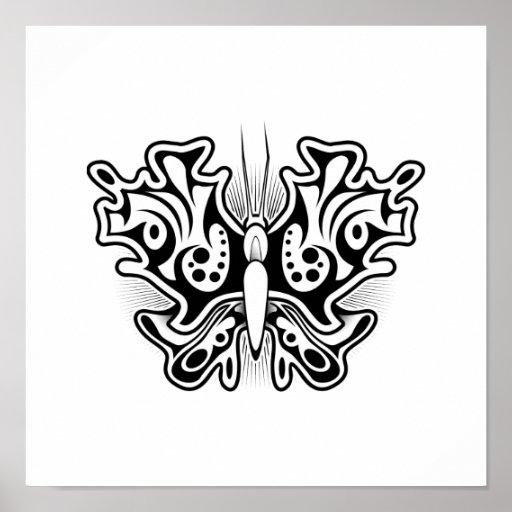 tatouage de papillon noir et blanc poster zazzle. Black Bedroom Furniture Sets. Home Design Ideas