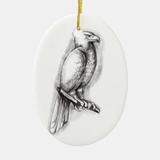 Tatouage de perche d'Eagle Cale-coupé la queue par Ornement Ovale En Céramique