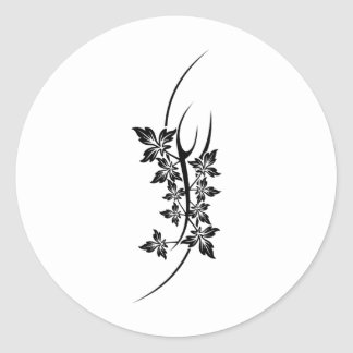 tatouage de plante sticker rond