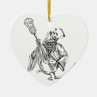 Tatouage de Polonais de la défense de lacrosse de Ornement Cœur En Céramique