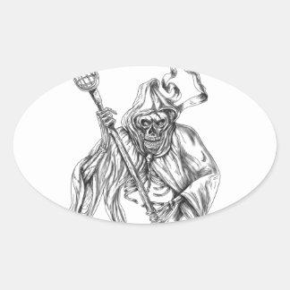Tatouage de Polonais de la défense de lacrosse de Sticker Ovale